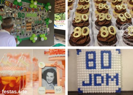 seleção de fotos de dicas de decoração de festa de 80 anos