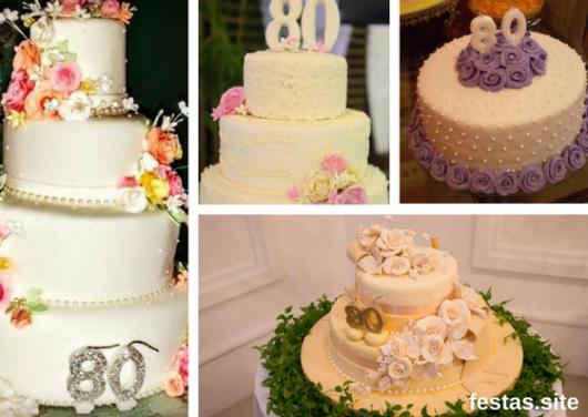 seleção de fotos de bolos de 80 anos decorado com flores