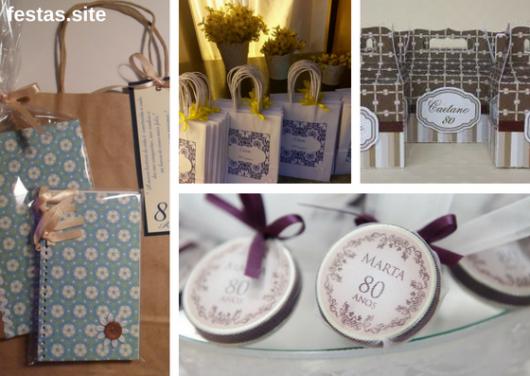 seleção de fotos de lembrancinhas de potes e sacolas de festa de 80 anos