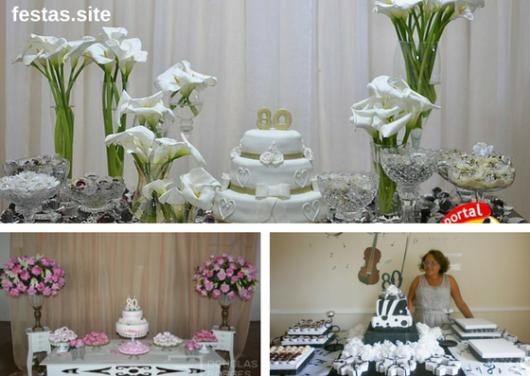 seleção de fotos de decoração feminina de festa de 80 anos