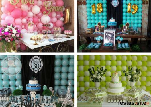 seleção de fotos de parede de balões para festas femininas