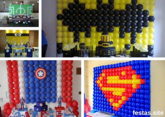 seleção de fotos de parede de balões com desenhos de super-heróis
