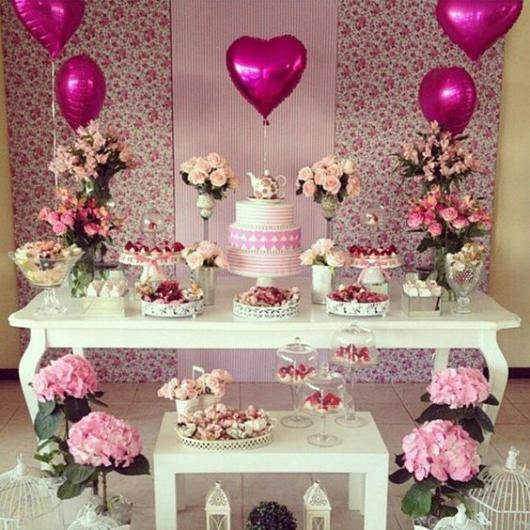 decoração chá rosa