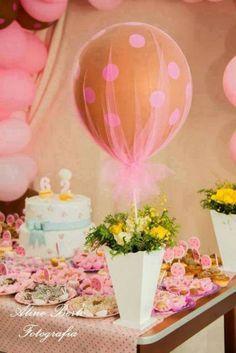 balão decorado com tule rosa