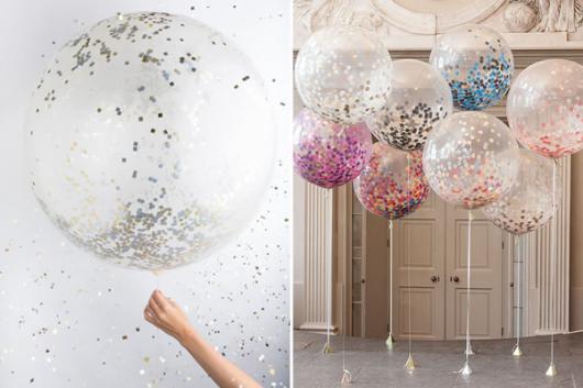 balões decorados com glitter