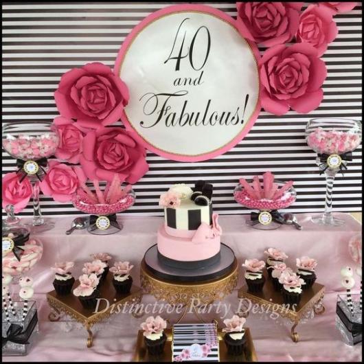 Mesa com objetos dourados, rosa e preto.