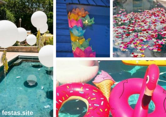 piscinas decoradas com balões, flores, velas e boias