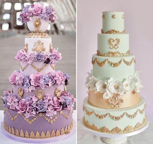 bolos de várias andares com flores