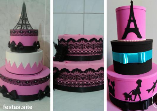 bolos Paris de EVA em rosa e preto
