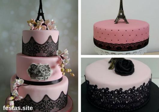 bolos Paris rosa com renda