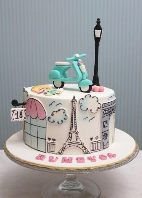 bolo Paris de pasta americana desenhado com pontos turísticos