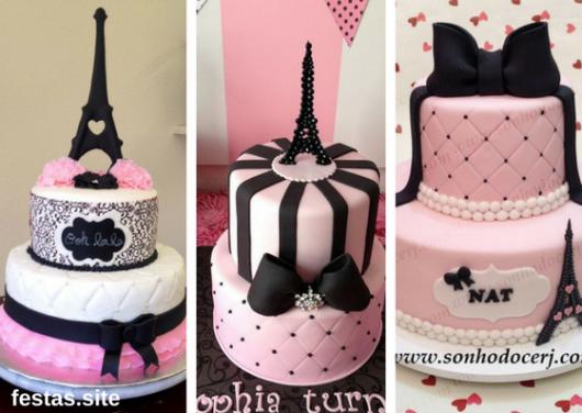 bolos Paris em pasta americana rosa claro e preto