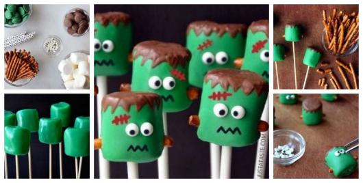 Montagem explicando como fazer um Frankenstein de marshmallow.
