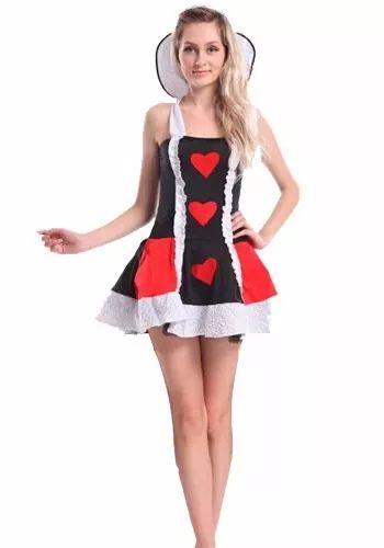vestido curto de fantasia Rainha de Copas