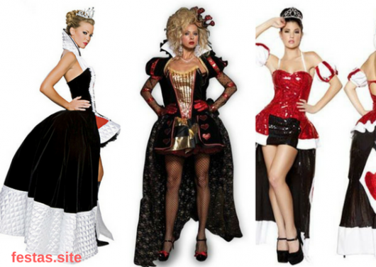 fantasias de vestido midi de Rainha de Copas