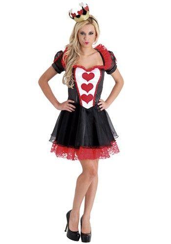 vestido preto com detalhes branco e vermelho de fantasia Rainha de Copas