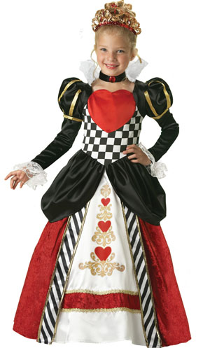 fantasia infantil de vestido longo de Rainha de Copas
