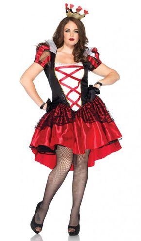 vestido preto e vermelho com meia calça arrastão de fantasia Rainha de Copas