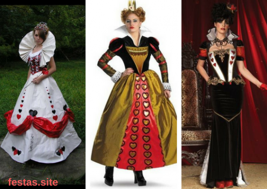 fantasias de vestido longo de Rainha de Copas