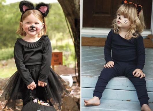 fantasia de halloween infantil improvisada de gatinho e oncinha