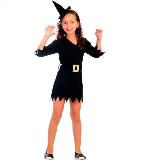 menina com vestido preto e chapéu de bruxa