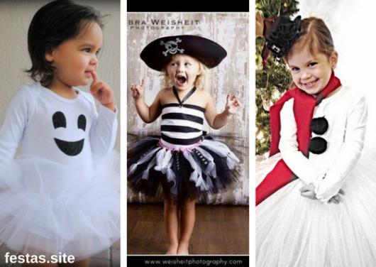 fantasia de Halloween infantil improvisada com tutu