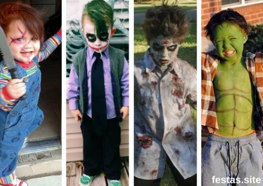 fantasias improvisadas infantils masculinas com maquiagem marcante