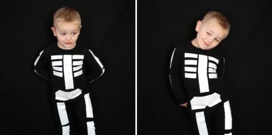 fantasia improvisada de esqueleto para menino
