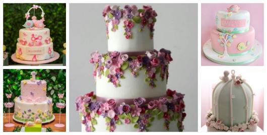 Cinco tipos de bolo com três, duas ou uma camada.