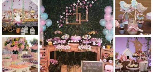 Montagem com ideias de decoração para festa Jardim Encantado.