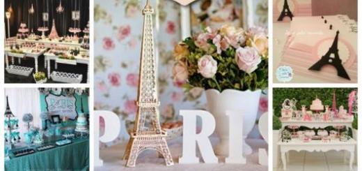 Montagem com exemplos de decoração e convite para Festa Paris.