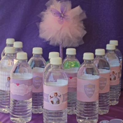 Garrafas de água descartáveis com rótulos personalizados da festa princesa Sofia