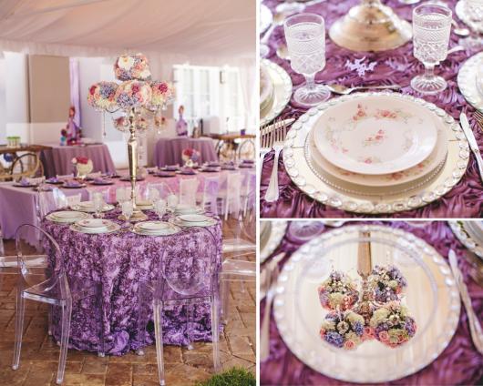 Mesa ricamente decorada em roxo, com louças delicadas
