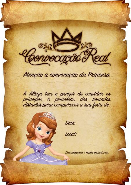 Convite em forma de pergaminho, se referindo aos convidados como príncipes e princesas.