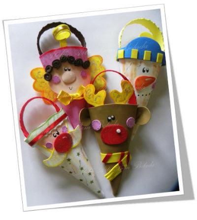 lembrancinhas de natal feito de EVA em formato de cone