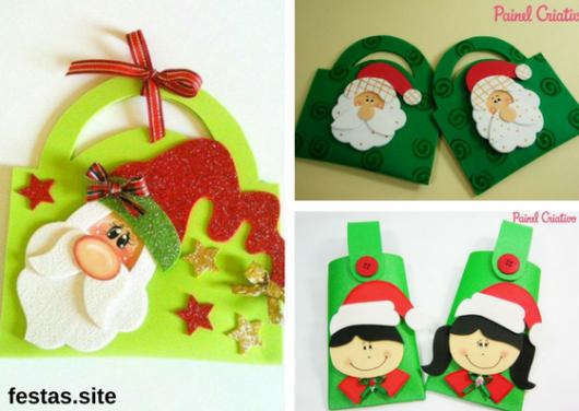 bolsinhas feitas de EVA como lembrancinhas de Natal