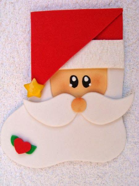 porta-talher de Papai Noel feito de EVA