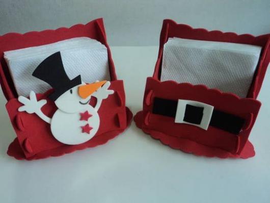 porta-guardanapo de Natal feito de EVA