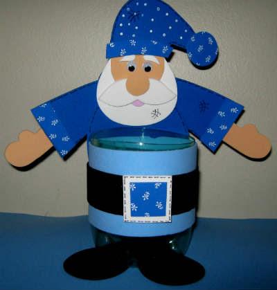 pote de garrafa Pet com papai noel de EVA em azul