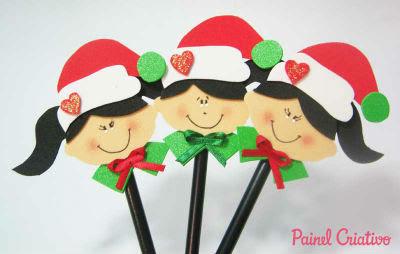 enfeites de Natal de EVA em lápis