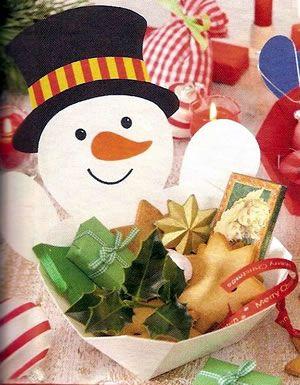 porta-doces de EVA com decoração de boneco de neve