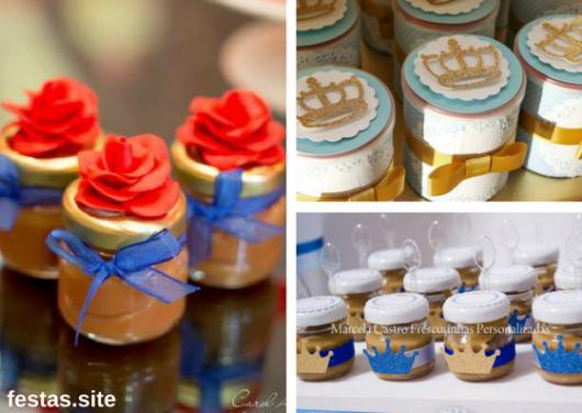 potinhos com doces decorados como lembrancinhas do Pequeno Príncipe