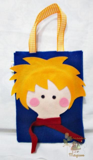 sacola de feltro com rosto do Pequeno Príncipe
