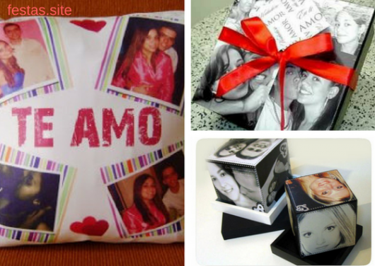fotos de casal em almofadas, álbuns e cubo
