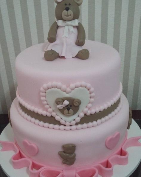 bolo rosa e marrom 2 andares