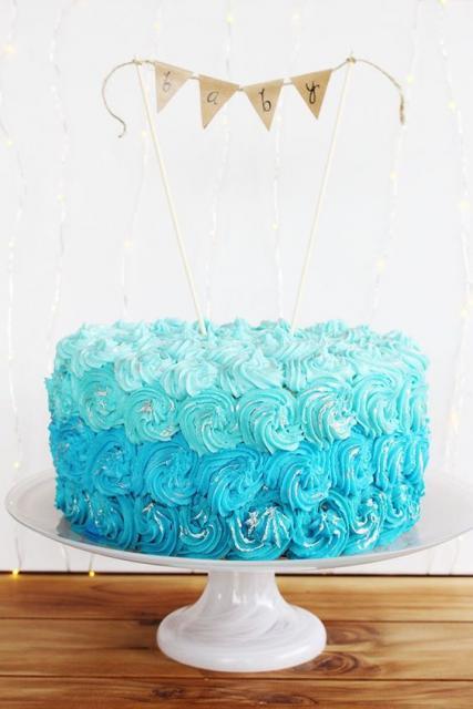 bolo degradê azul