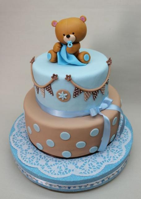 bolo azul e marrom urso