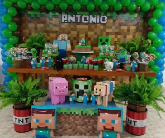 Festa Minecraft vários bichos e animais