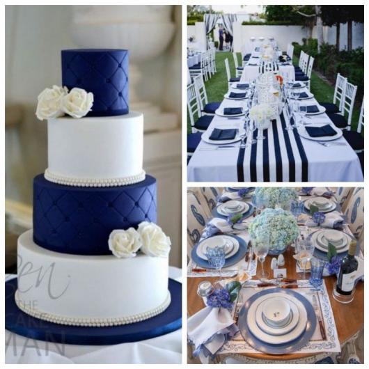 Montagem com bolo e esas decoradas com as cores azul e branco
