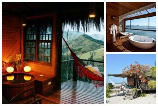Montagem com cabanas, resort e hotel para passar a lua de mel.